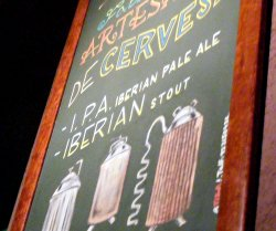 Blackboard in Barcelona brewpub