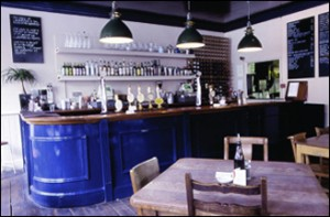 The Duke of Cambridge organic pub's trendy blue bar
