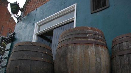 Barrels outside Brodie's Beers brewery, from their website.