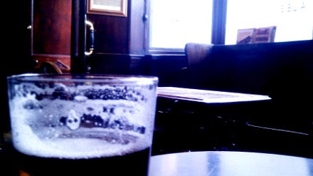 Pint of ordinary bitter in an English pub.