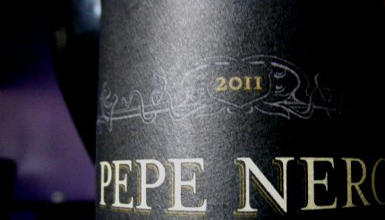 The neck of a bottle of Goose Island Pepe Nero 2011.