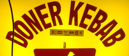 Doner kebab sign, London