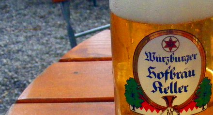 A glass of Pilsner beer in Wuerzburg, Germany.
