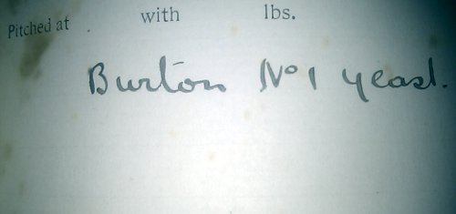 Detail from a 1912 brewing log: Burton No 1 Yeast.