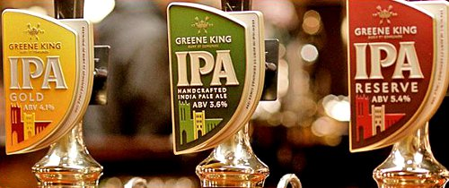 Greene King IPA pumpclips in an image from their website.