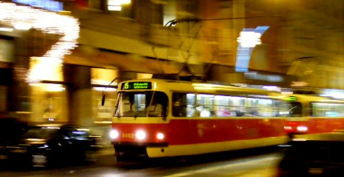 A tram in Prague.