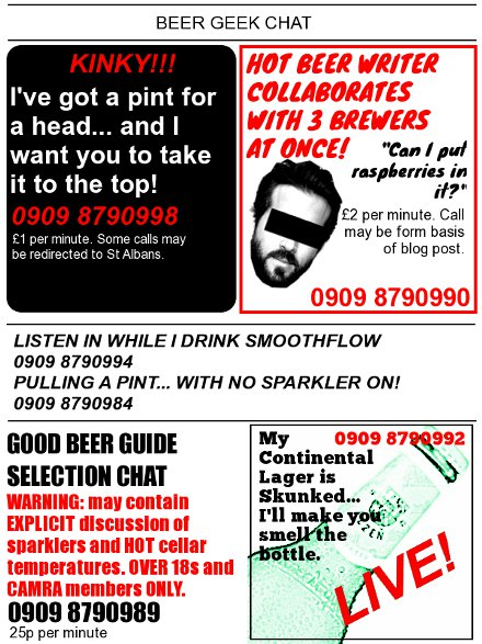 Oh-so hilarious mock advertisements for beer geek phone chat lines.