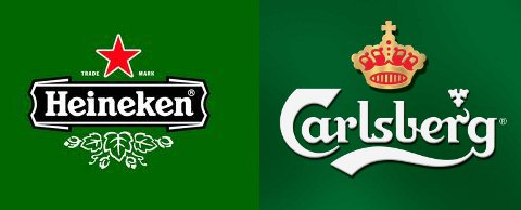 Carlsberg and Heineken logos side by side.