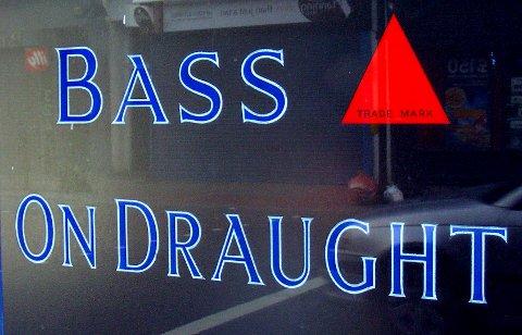 Window with the Bass logo, Kennington, South London.