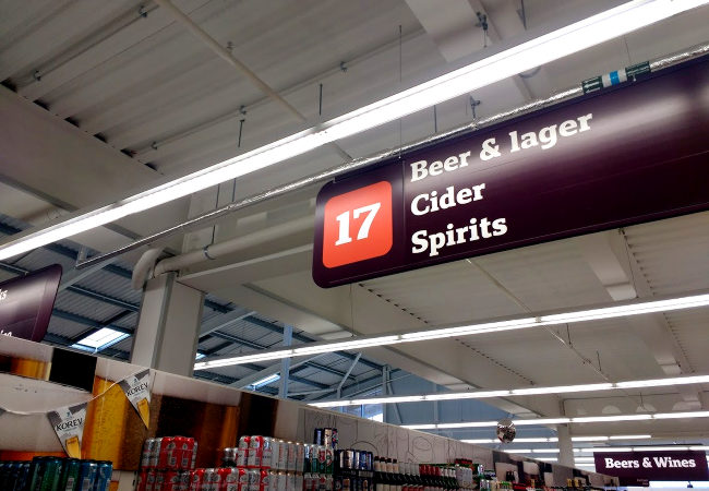 Sign for the beer aisle in Sainsbury's.