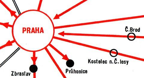 Detail of 1958 Prague transit map.