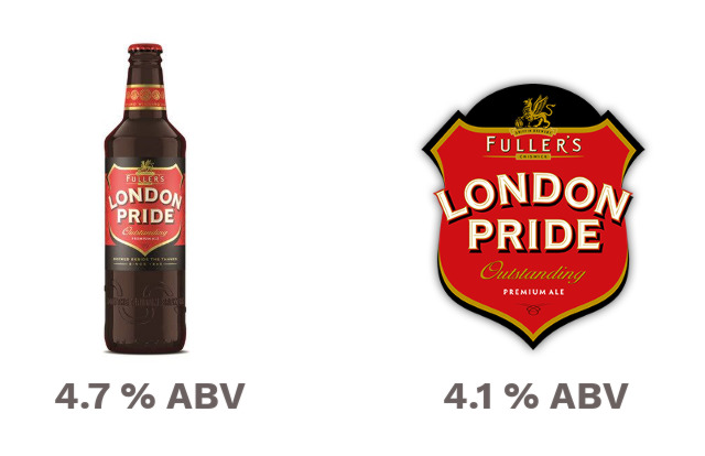 London Pride in bottle (4.7%) and cask (4.1).