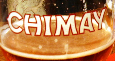 Chimay beer in a glass.