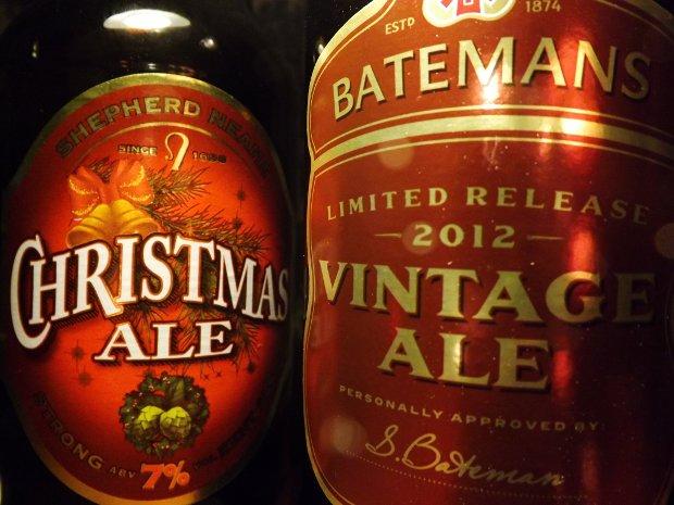 Two beers: Shepherd Neame Christmas Ale and Bateman's Vintage Ale.