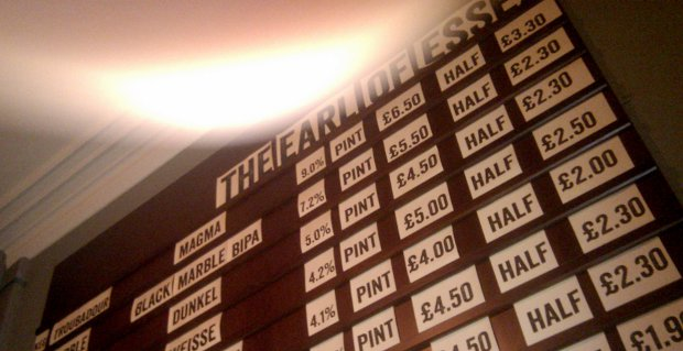 Beer board at the Earl of Essex pub.