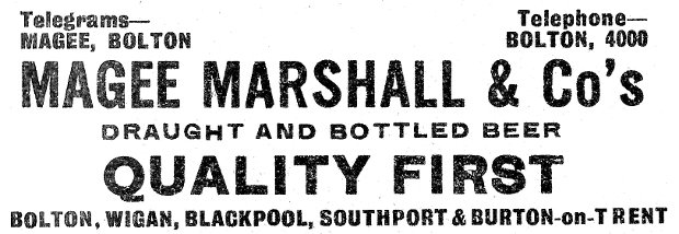 Beer advert: Magee Marshall & Co, Bolton