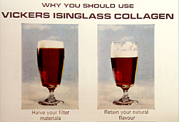Isinglass Collagen beer treatment advertisement.