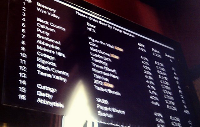 The beer list at the Wellington pub, Birmingham.