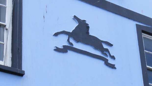 Starkey, Knight & Ford horse trademark on a former pub in Bridgwater.