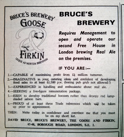 David Bruce's Firkin Brewery advert c.1980.
