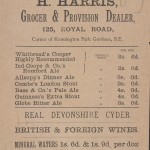 Price list of bottled beers, 1884.