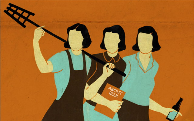 Illustration: Women and Beer (adapted from an American WWII propaganda poster).