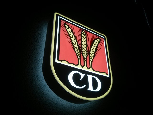 Sign advertising Dinkelacker CD-Pils in Stuttgart.