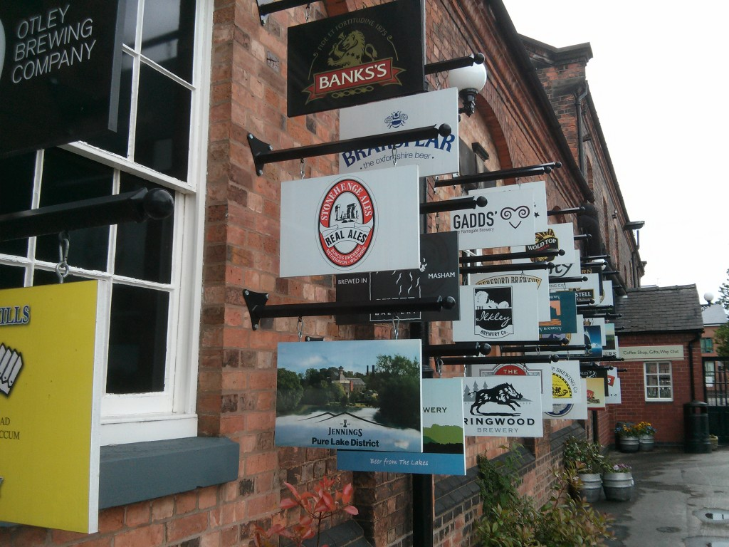 Various brewery signs.