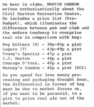 Cask/keg price comparison: keg bitters 38-40p a pint, Young's Special 47p a pint.