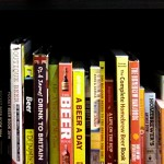 Really long reads: beer books on a shelf.