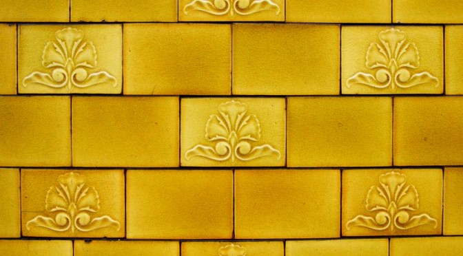 Close up of the tiles on the Peveril of the Peak, Manchester.