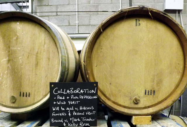 Wooden barrels at the Wild Beer Co, Somerset.