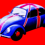 Illustration: a British Volkswagen Beetle, based on a photo by Les Chatfield.