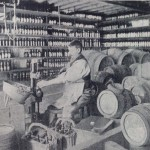 The bottled beer cellar at the White Lion, 1898.