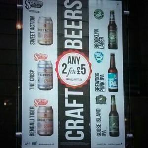 Wetherspoons Craft Beers poster.