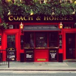The Coach & Horses, Covent Garden. Twin sister to the Globe, with a window full of burly blokes who glared at us while we took this photo.