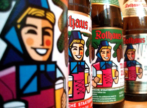 Rothaus beers in a line.