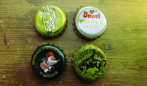 Belgian hop beer bottle caps.