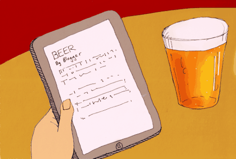 Reading in the pub (illustration)