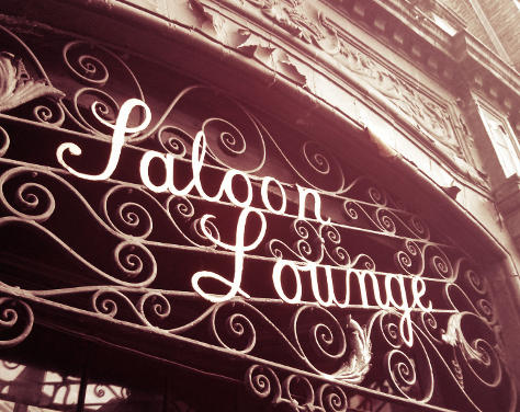 Saloon Lounge metalwork sign.