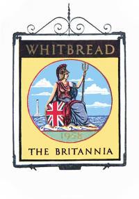 Britannia pub sign, 1958.