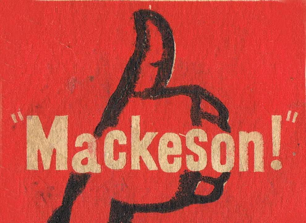 Mackeson beer mat detail.