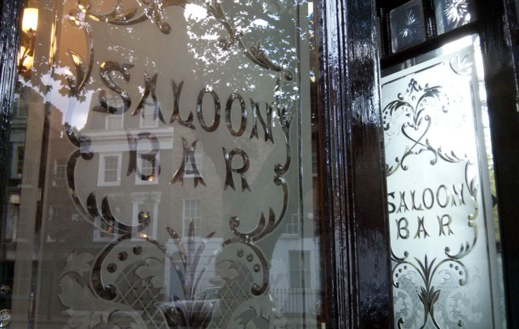 Engraved windows, Islington, North London.