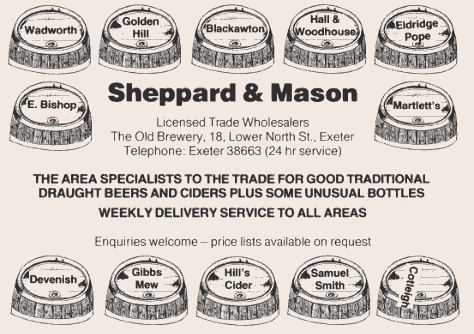 Vintage Sheppard & Mason beer agency advert.