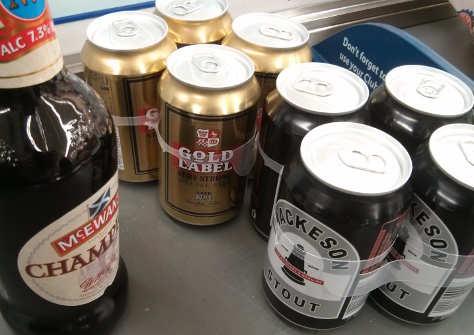 Supermarket beers for mixing.