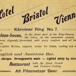 The Hotel Bristol Vienna advertises... what now? Pilsenetzer?