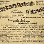 Patzenhofer of Berlin advertises its wares 1896. They tried to break the UK market between the wars..