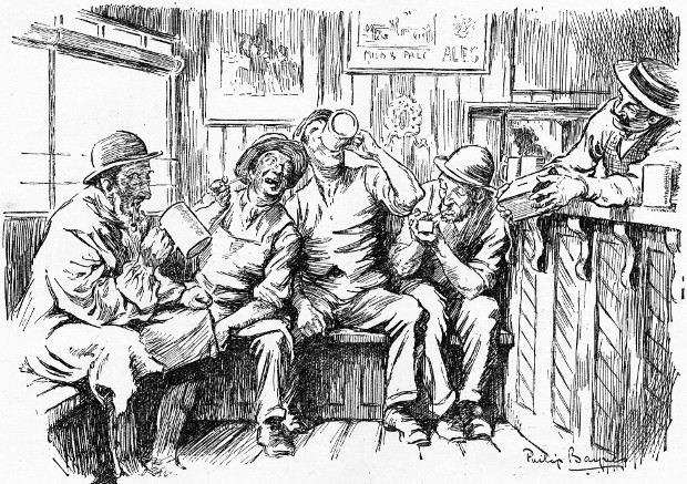 Old fellers drinking in a pub, from an illustraton c.1914.