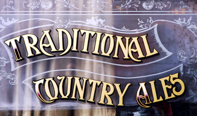 """Traditional Country Ales"" window livery."