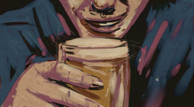 Illustration: raising a glass to the lips.
